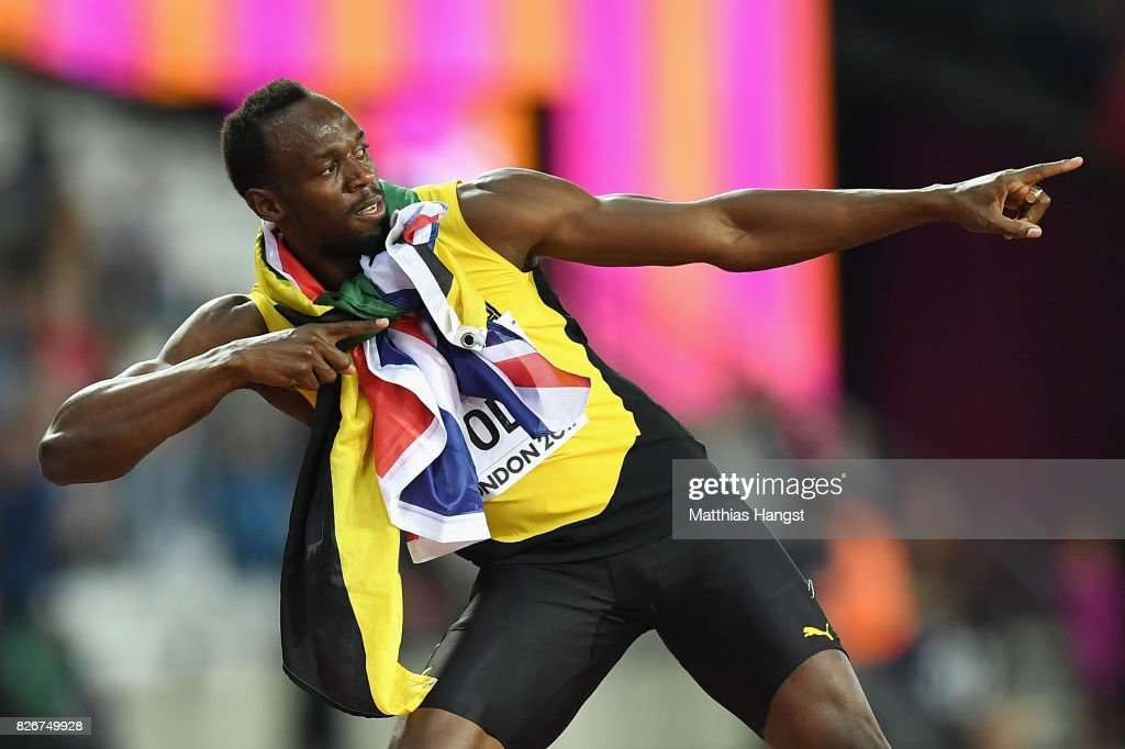 Usain Bolt of Jamaica celebrates during a lap of honour following finishing in third place in the mens 100m final during day two of the 16th IAAF World Athletics Championships London 2017 at The London Stadium on August 5, 2017 in London, United Kingdom.