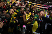 london england usain bolt jamaica celebrates