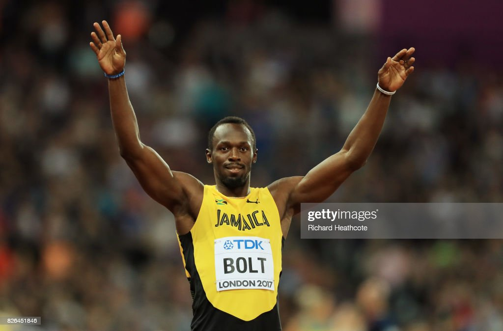 Usain Bolt of Jamaica celebrates following the Men's 100 metres heats during day one of the 16th IAAF World Athletics Championships London 2017 at The London Stadium on August 4, 2017 in London, United Kingdom.