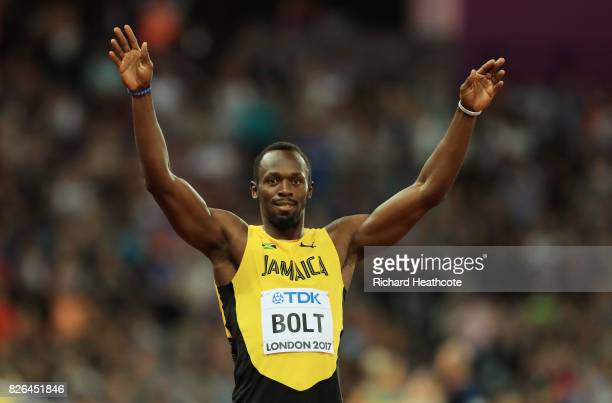 Usain Bolt of Jamaica celebrates following the Men's 100 metres heats during day one of the 16th IAAF World Athletics Championships London 2017 at...