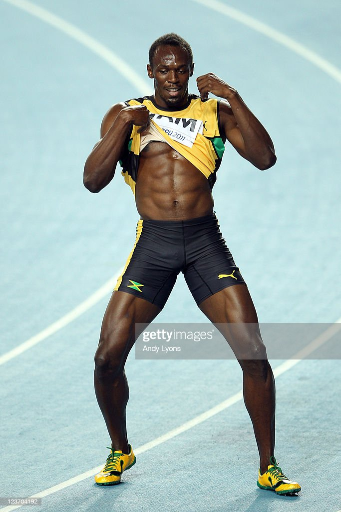 Usain Bolt of Jamaica celebrates victory and a new world record in the men's 4x100 metres relay final during day nine of 13th IAAF World Athletics Championships at Daegu Stadium on September 4, 2011 in Daegu, South Korea.
