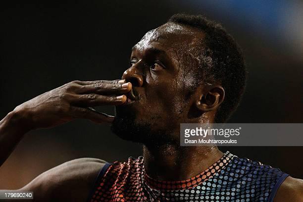 Usain Bolt of Jamaica celebrates winning the 100m final during the 2013 Belgacom Memorial Van Damme IAAF Diamond League meet at The King Baudouin...