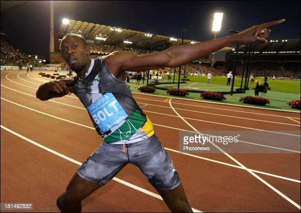 Usain Bolt of Jamaica celebrates winning the 100m Men's race on the 14th and last leg of the Samsung Diamond athletics league during the Memorial Van...
