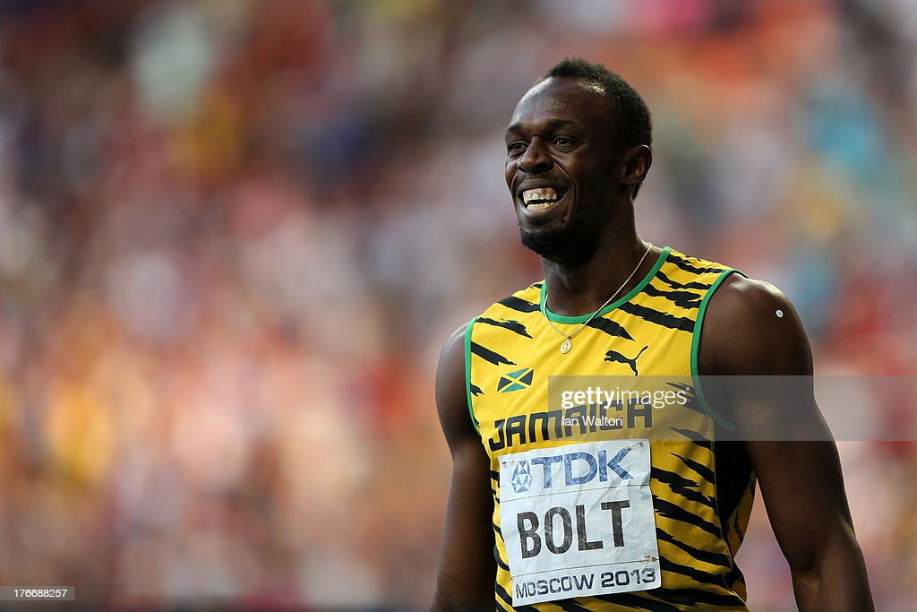 Usain Bolt of Jamaica celebrates winning the gold medal in the Men's 200 metres final during Day Eight of the 14th IAAF World Athletics Championships Moscow 2013 at Luzhniki Stadium on August 17, 2013 in Moscow, Russia.