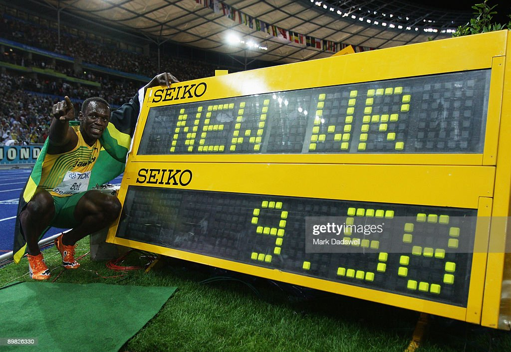 Usain Bolt of Jamaica celebrates winning the gold medal in the men's 100 Metres Final during day two of the 12th IAAF World Athletics Championships at the Olympic Stadium on August 16, 2009 in Berlin, Germany. Bolt set a new World Record of 9.58.