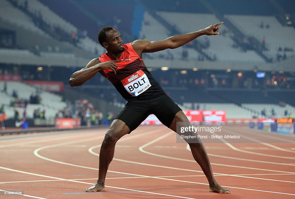 Usain Bolt of Jamaica celebrates winning the mens 200m during day one of the Muller Anniversary Games at The Stadium - Queen Elizabeth Olympic Park on July 22, 2016 in London, England.