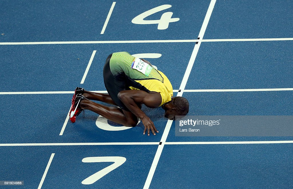 Usain Bolt of Jamaica celebrates winning the Men's 200m Final on Day 13 of the Rio 2016 Olympic Games at the Olympic Stadium on August 18, 2016 in Rio de Janeiro, Brazil.