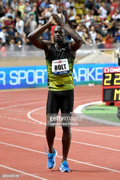 Usain Bolt of Jamaica competes in 100m during the IAAF Diamond League Meeting Herculis on July 21 2017 in Monaco Monaco