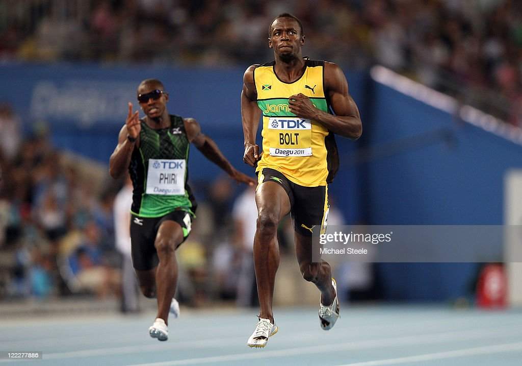 Usain Bolt of Jamaica competes in the men's 100 metres heats during day one of the 13th IAAF World Athletics Championships at the Daegu Stadium on August 27, 2011 in Daegu, South Korea.