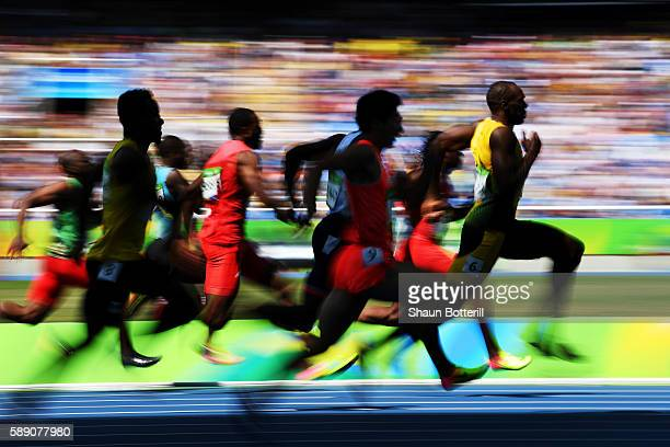 Usain Bolt of Jamaica competes in the Men's 100m Round 1 on Day 8 of the Rio 2016 Olympic Games at the Olympic Stadium on August 13, 2016 in Rio de...