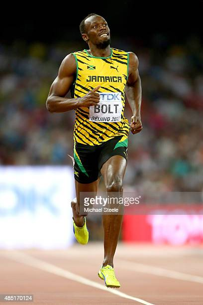 Usain Bolt of Jamaica competes in the Men's 200 metres heats during day four of the 15th IAAF World Athletics Championships Beijing 2015 at Beijing...