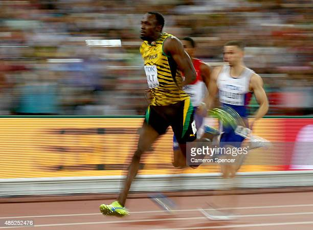Usain Bolt of Jamaica competes in the Men's 200 metres semi-final during day five of the 15th IAAF World Athletics Championships Beijing 2015 at...