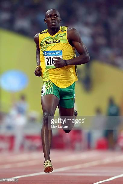 Usain Bolt of Jamaica competes in the Men's 200m Heats held at the National Stadium on Day 11 of the Beijing 2008 Olympic Games on August 19 2008 in...