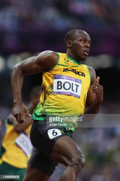 Usain Bolt of Jamaica competes in the Men's 200m Semifinals on Day 12 of the London 2012 Olympic Games at Olympic Stadium on August 8, 2012 in...