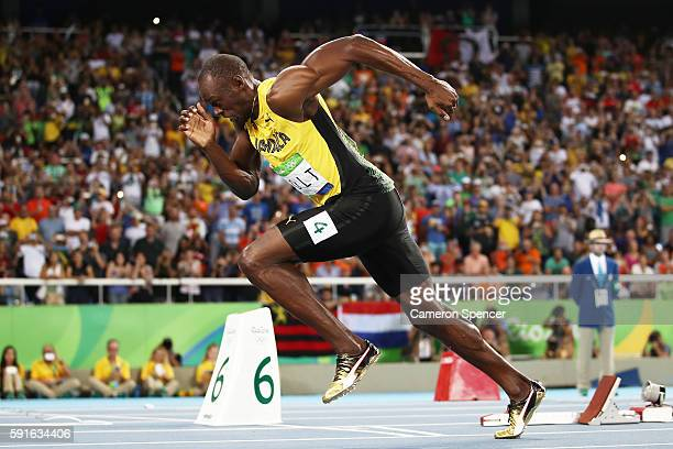 Usain Bolt of Jamaica competes in the Men's 200m Semifinals on Day 12 of the Rio 2016 Olympic Games at the Olympic Stadium on August 17 2016 in Rio...