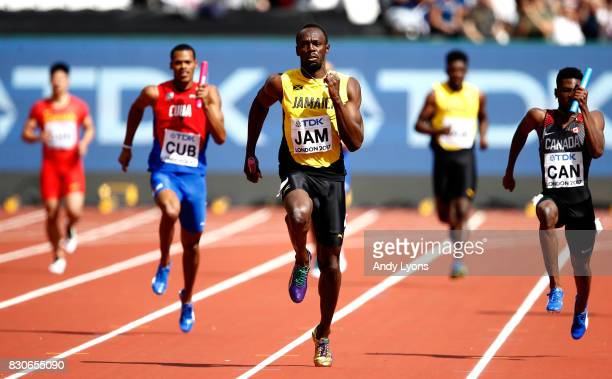 Usain Bolt of Jamaica competes in the Men's 4x100 Metres Relay heats during day nine of the 16th IAAF World Athletics Championships London 2017 at...