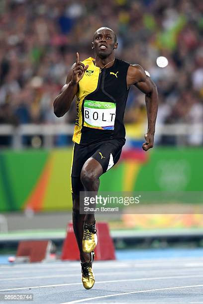 Usain Bolt of Jamaica competes on his way to winning the Men's 100m Final on Day 9 of the Rio 2016 Olympic Games at the Olympic Stadium on August 14...