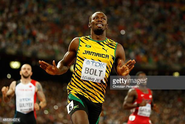 Usain Bolt of Jamaica crosses the finish line to win gold in the Men's 200 metres final during day six of the 15th IAAF World Athletics Championships...