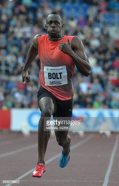 Usain Bolt of Jamaica crosses the finish line to win the Men's 100m event at the IAAF World challenge Zlata Tretra athletics tournament in Ostrava on...
