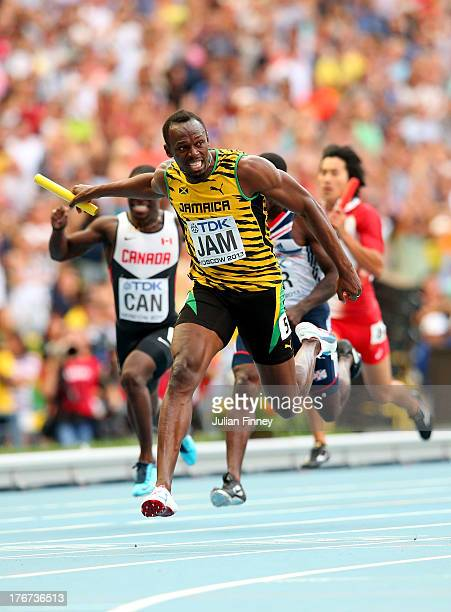 Usain Bolt of Jamaica crosses the line first win gold in the Men's 4x100 metres final during Day Nine of the 14th IAAF World Athletics Championships...