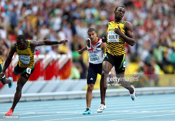 Usain Bolt of Jamaica crosses the line to win gold l in the Men's 200 metres final during Day Eight of the 14th IAAF World Athletics Championships...