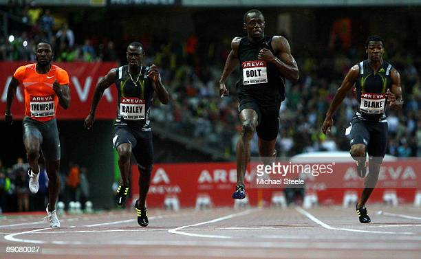 Usain Bolt of Jamaica crosses the line to win the Mens 100m during the IAAF Golden League Track and Field meeting on July 17 2009 in Paris France