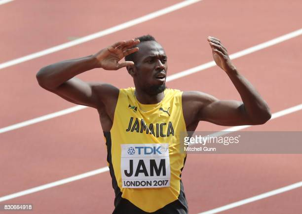 Usain Bolt of Jamaica during day nine of the 16th IAAF World Athletics Championships London 2017 at The London Stadium on August 12 2017 in London...