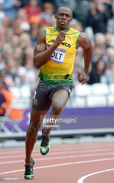 Usain Bolt of Jamaica during the Men's 200m Round 1 Heats on Day 11 of the London 2012 Olympic Games at Olympic Stadium on August 7, 2012 in London,...