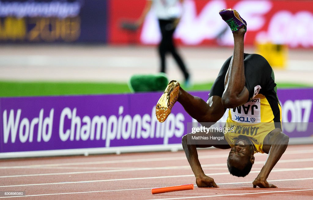 Usain Bolt of Jamaica falls to the track in the Men's 4x100 Relay final during day nine of the 16th IAAF World Athletics Championships London 2017 at The London Stadium on August 12, 2017 in London, United Kingdom.