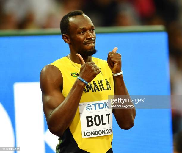 Usain Bolt of Jamaica gestures during the 'IAAF Athletics World Championships London 2017' at London Stadium in the Queen Elizabeth Olympic Park in...