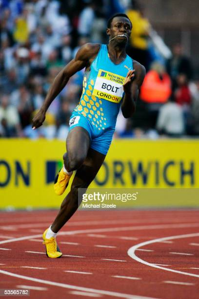 Usain Bolt of Jamaica in action during the 200 metres during the Norwich Union Grand Prix meeting on July 22 2005 at Crystal Palace Athletics Stadium...