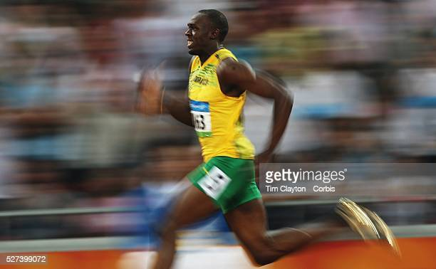 Usain Bolt of Jamaica in action during the Beijing 2008 Olympic Games Beijing China 17th August 2008 Photo Tim Clayton
