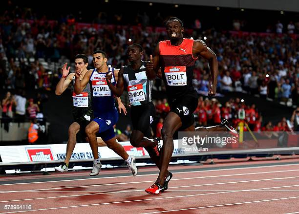 Usain Bolt of Jamaica in action during the mens 200m on Day One of the Muller Anniversary Games at The Stadium Queen Elizabeth Olympic Park on July...