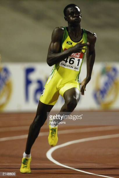 Usain Bolt of Jamaica in action in the 200 metres during the IAAF Junior Athletics World Championships on July18 2002 at the National Stadium in...