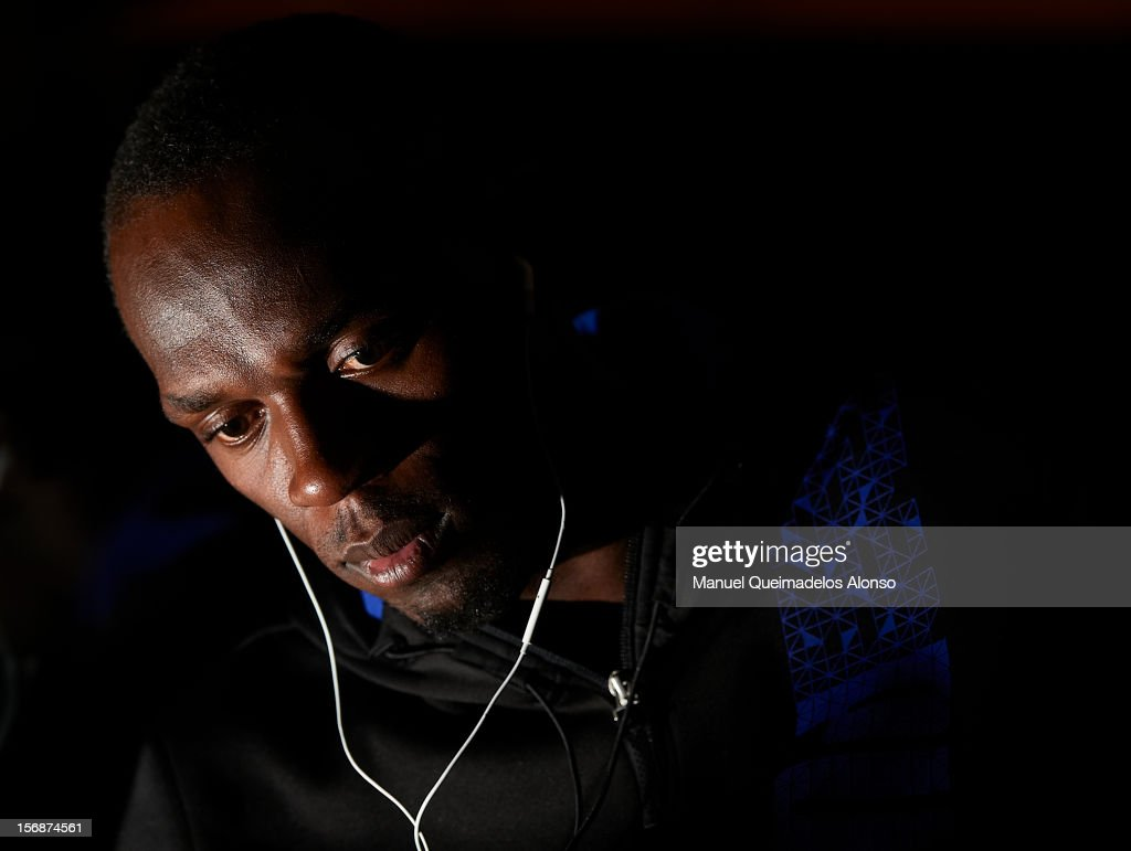 Usain Bolt of Jamaica in press conference during the preview day of the IAAF athlete of the year award at the IAAF Centenary Gala on November 23, 2012 in Barcelona, Spain.