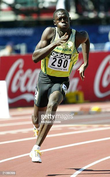Usain Bolt of Jamaica in the 200m Heat 1 during the Third IAAF World Youth Championships on July 12 2003 in Sherbrooke Canada