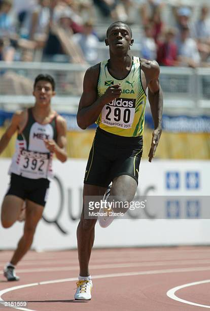 Usain Bolt of Jamaica in the 400m Heat 2 during the 3rd IAAF World Youth Championships on July 10 2003 in Sherbrooke Canada