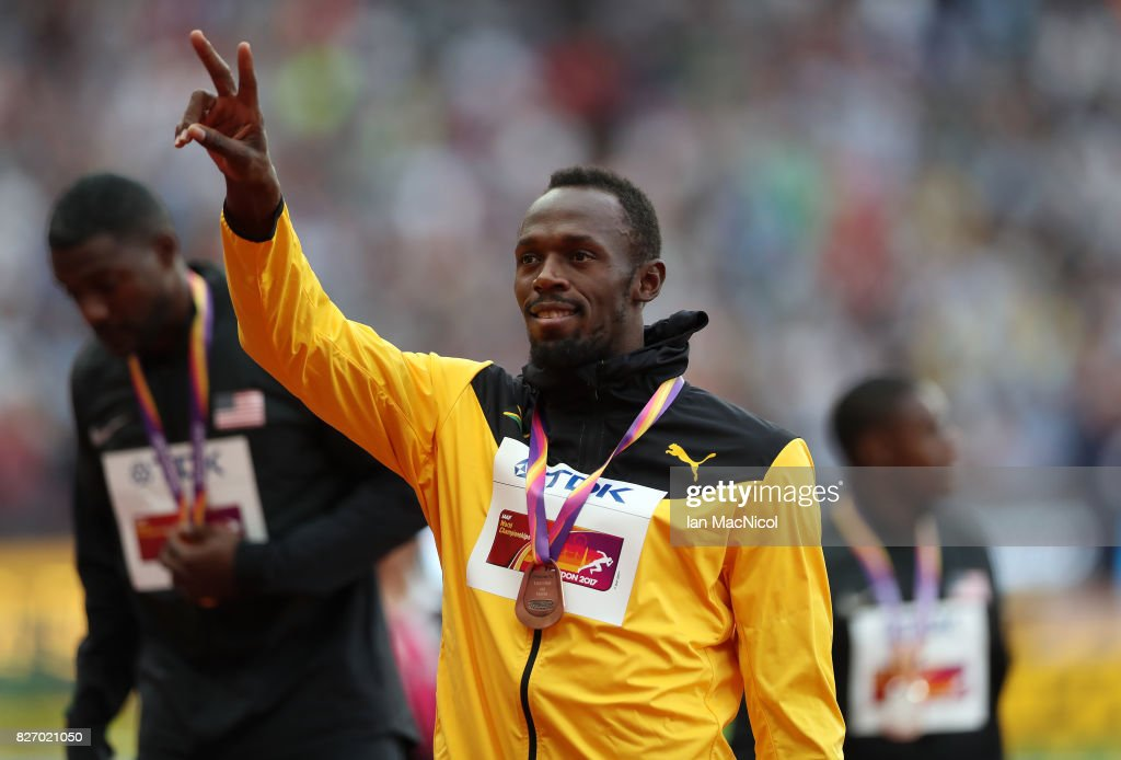 Usain Bolt of Jamaica is seen during the medal ceremony from the Men's 100m final, during day three of the 16th IAAF World Athletics Championships London 2017 at The London Stadium on August 6, 2017 in London, United Kingdom.