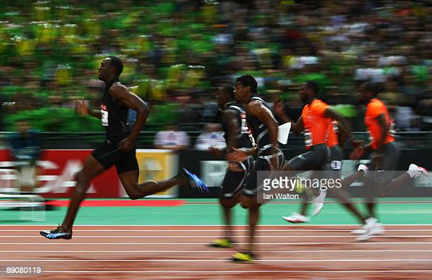 Usain Bolt of Jamaica leads home the field to win the Mens 100m during the IAAF Golden League Track and Field meeting on July 17 2009 in Paris France