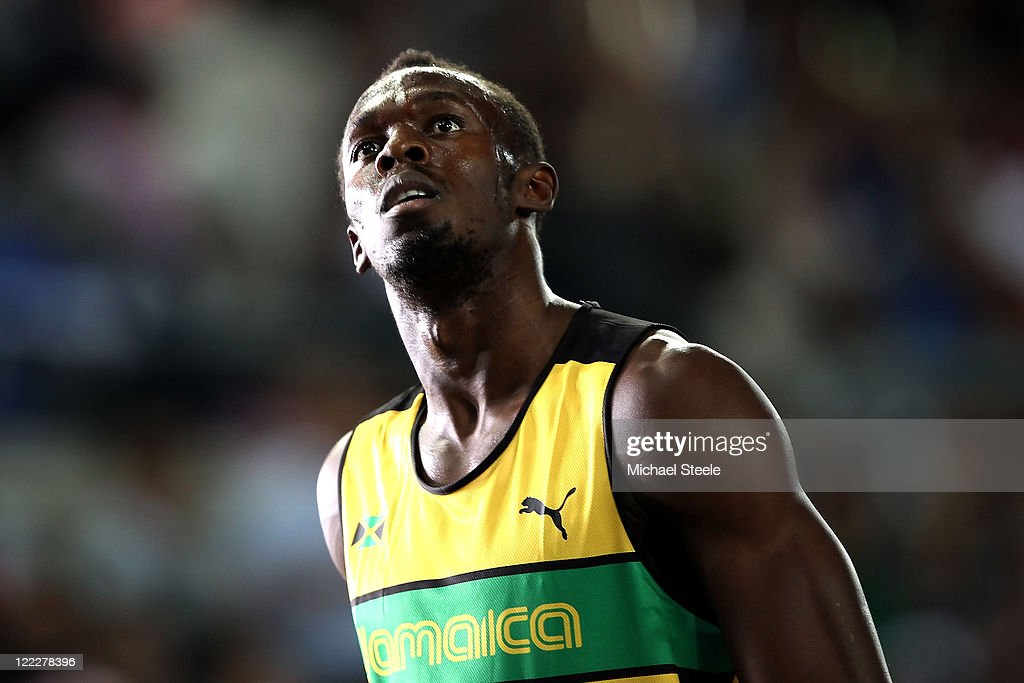 Usain Bolt of Jamaica looks on after competing in the men's 100 metres heats during day one of the 13th IAAF World Athletics Championships at the Daegu Stadium on August 27, 2011 in Daegu, South Korea.