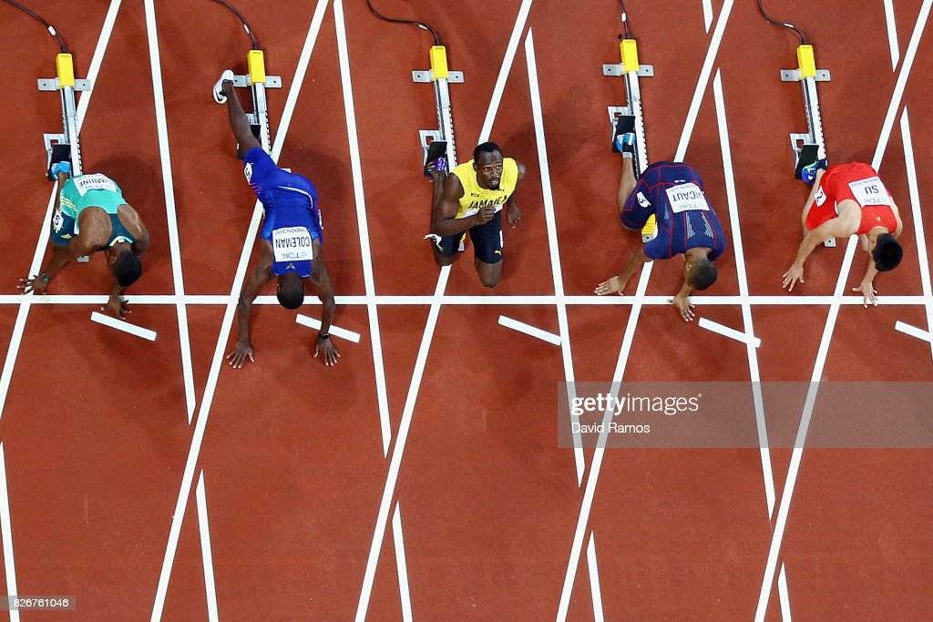 Usain Bolt of Jamaica looks to the skies before settling into his blocks before the Men's 100 metres final during day two of the 16th IAAF World Athletics Championships London 2017 at The London Stadium on August 5, 2017 in London, United Kingdom.