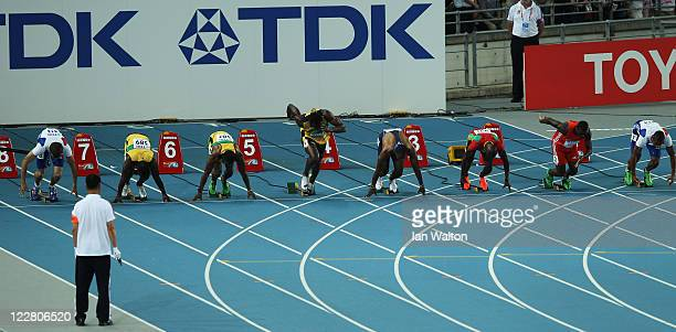 Usain Bolt of Jamaica makes a false start and is disqualified in the men's 100 metres final during day two of 13th IAAF World Athletics Championships...