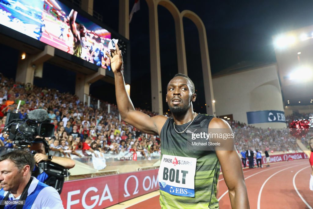 Usain Bolt of Jamaica on his lap of honour after victory in the men's 100m during the IAAF Diamond League Meeting Herculis on July 21, 2017 in Monaco, Monaco.