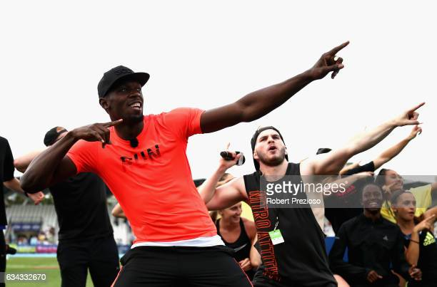Usain Bolt of Jamaica performs for fans during the 2017 Nitro Athletics Series at Lakeside Stadium on February 9 2017 in Melbourne Australia