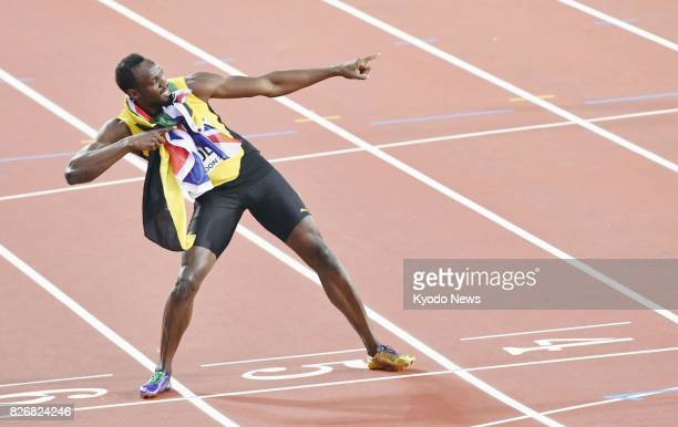 Usain Bolt of Jamaica poses after finishing third in the men's 100meter final at the World Athletics Championships in London on Aug 5 2017 ==Kyodo