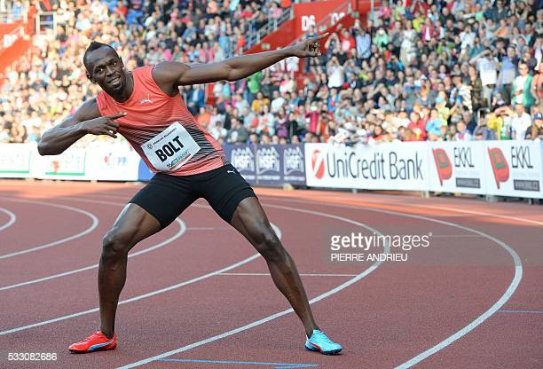TOPSHOT Usain Bolt of Jamaica poses after winning the Men's 100m event at the IAAF World challenge Zlata Tretra athletics tournament in Ostrava on...