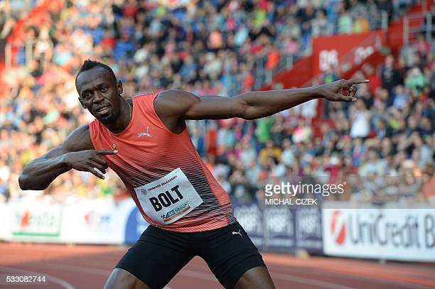 Usain Bolt of Jamaica poses after winning the Men's 100m event at the IAAF World challenge Zlata Tretra athletics tournament in Ostrava on May 20...