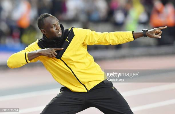 Usain Bolt of Jamaica poses during his retirement ceremony following the World Athletics Championships in London on Aug 13 2017 ==Kyodo