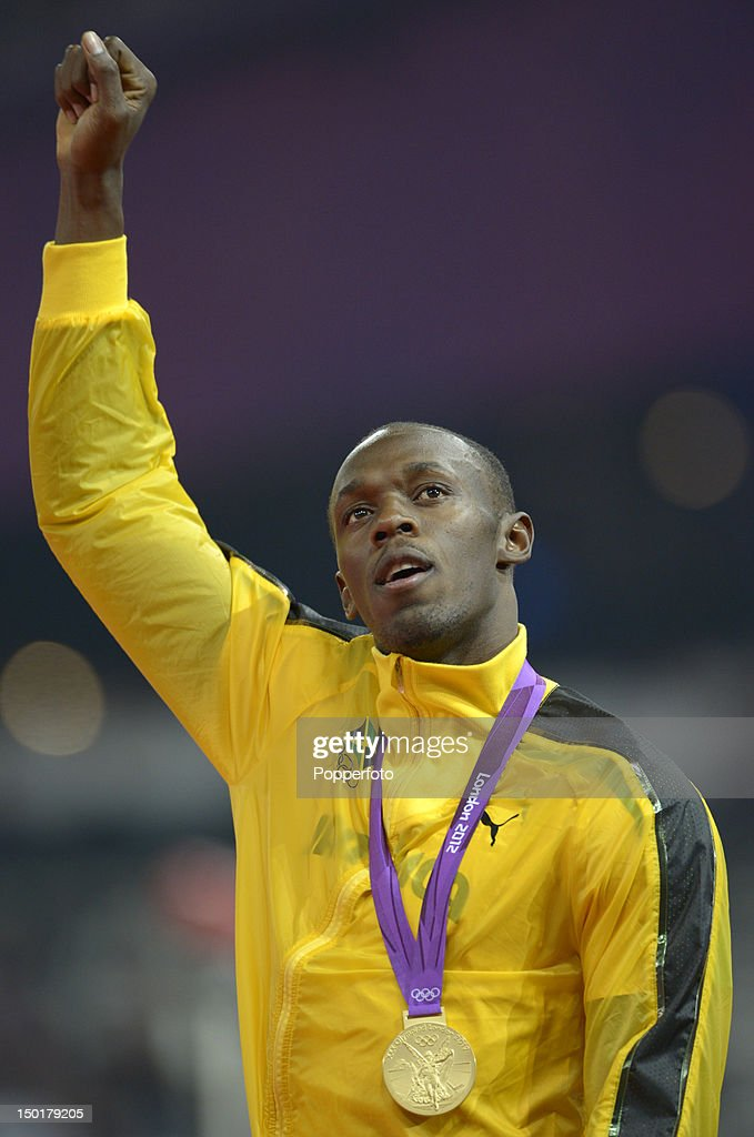 Usain Bolt of Jamaica poses on the podium during the medal ceremony for the Men's 4 x 100m Relay on Day 15 of the London 2012 Olympic Games at Olympic Stadium on August 11, 2012 in London, England.