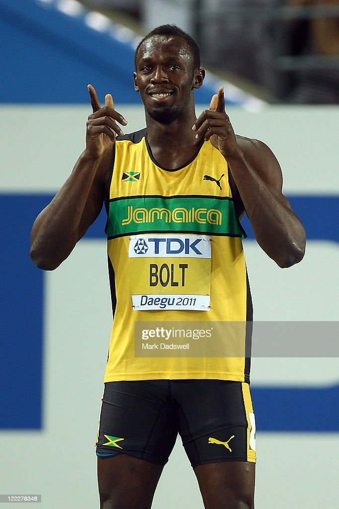 Usain Bolt of Jamaica prepares for the men's 100 metres heats during day one of the 13th IAAF World Athletics Championships at the Daegu Stadium on August 27, 2011 in Daegu, South Korea.